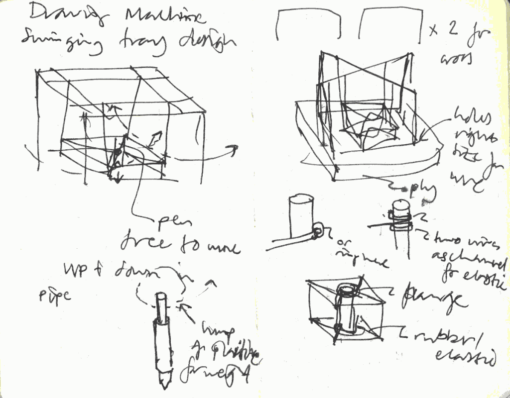 Drawing Machine pen holder tray sketch 1