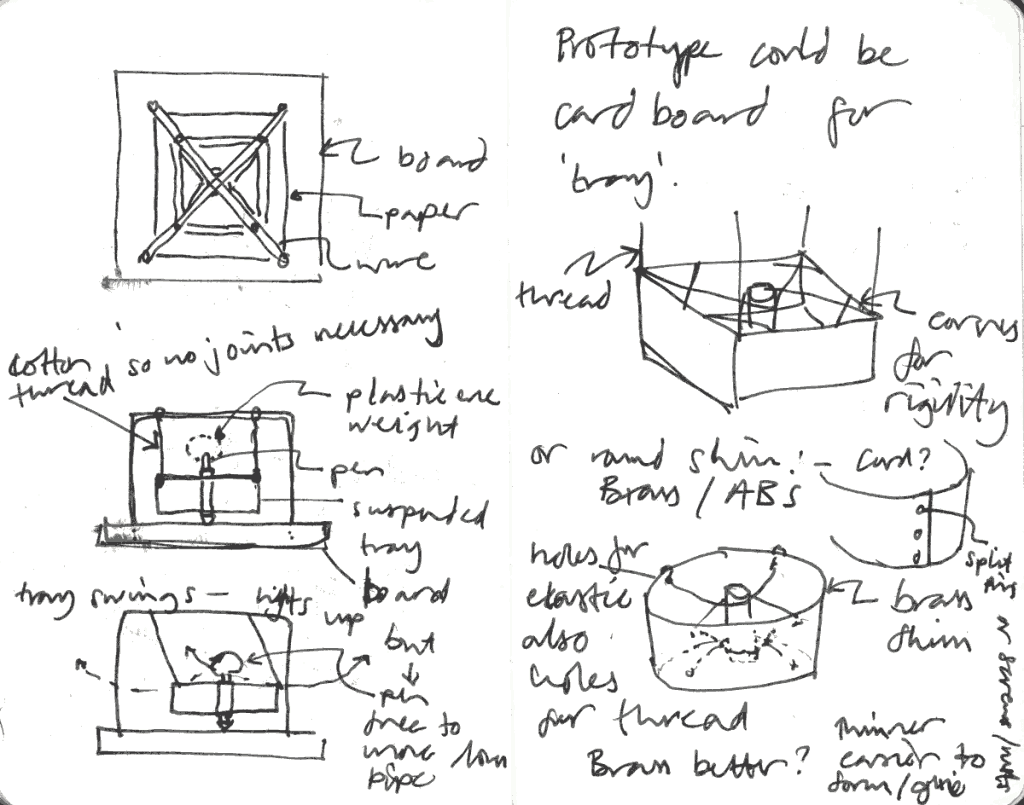 Drawing Machine pen holder tray sketch 2