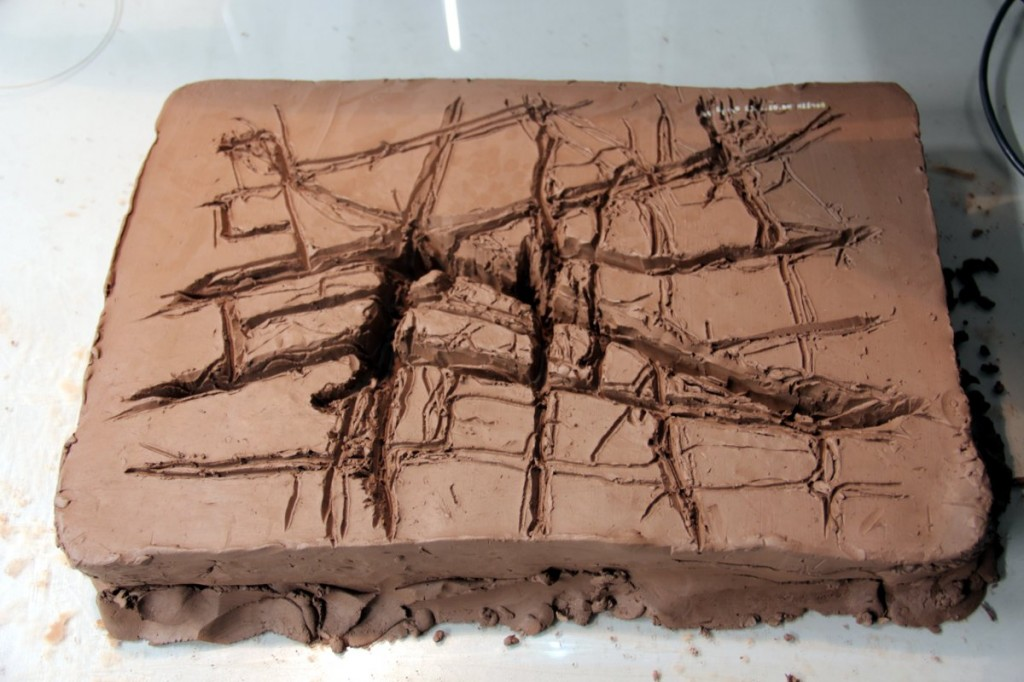 Clay frequency map mould of area around where we live in Berlin