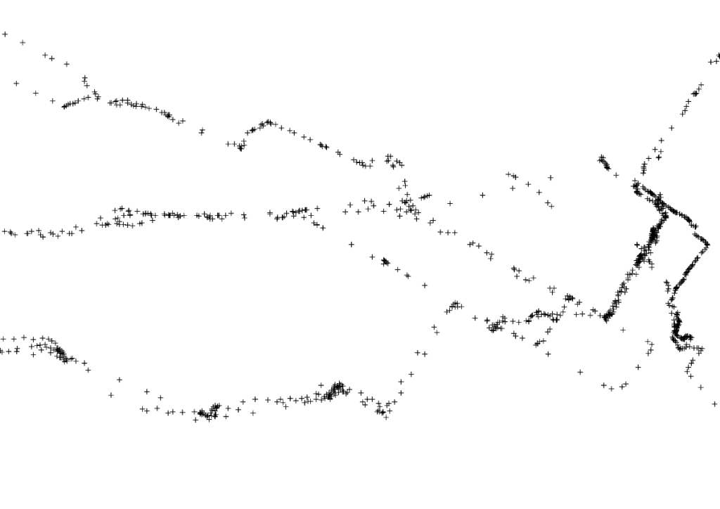 gpx file represented as points
